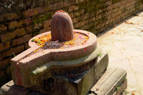 Kathmandu Changu Narayan 33 Shiva Lingam On Ground Next To Parijat Tree Platform On North East Side Of Changu Narayan