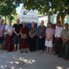 Group photo at the Petaw monastery in Myintha (Arlo Griffith, Julian Wheatley, James Miles, Ashin Nyarna Daza (abbot), Bob Hudson, Nathan Hill, Marc Miyake, Wai Lin Thu, Ne Myo Win)